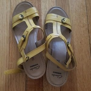 NWT Clarks Yellow Sandals